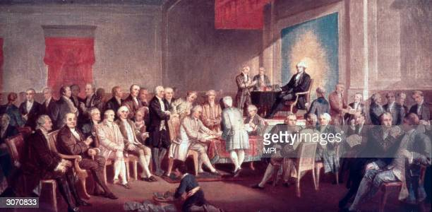 The painting Signing the Constitution of the United States by Thomas Pritchard Rossiter The painting painted in 1878 resides at Independence National...