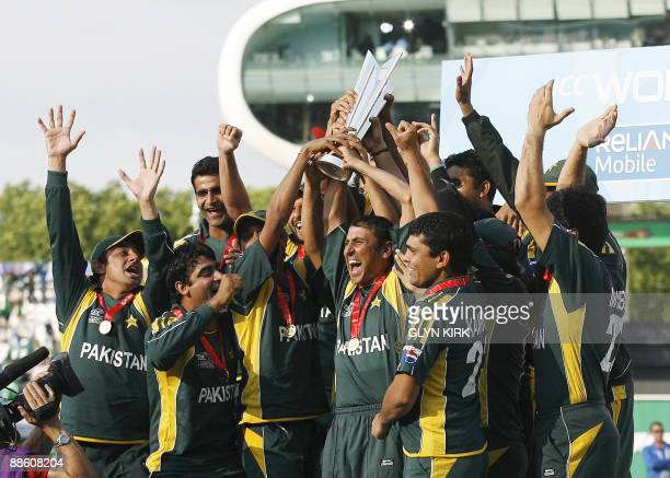 The Pakistan national cricket team celebrate with the trophy after winning their the final ICC Twenty20 Cricket World Cup match against Sri Lanka at...