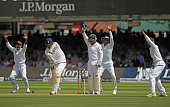 The Pakistan slip cordon appeals successfully for the wicket of England's Steven Finn during day 3 of the First Investec Test match between England...