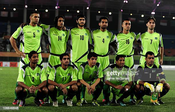 The Pakistan team line up prior to the Men's Football group F first round match between Maldives and Pakistan ahead of the 16th Asian Games Guangzhou...
