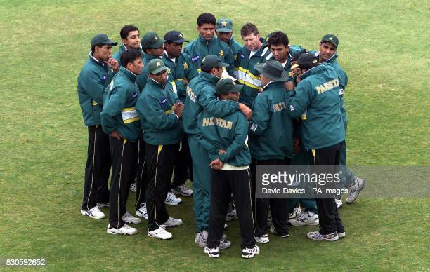 The Pakistan team listen to new coach Richard Pybus during a training session at Trent Bridge Nottingham Pakistan will play England in the first Test...