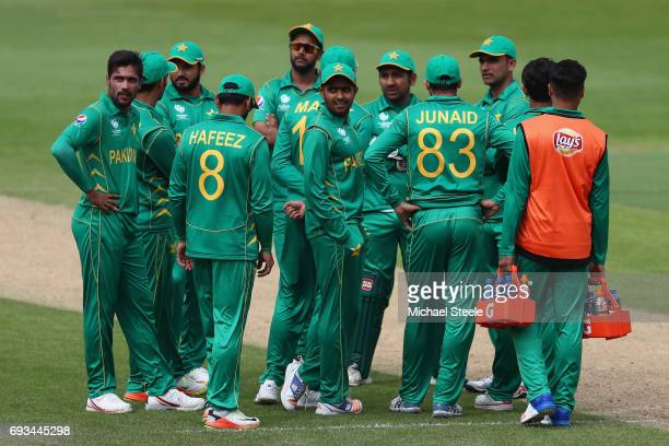 The Pakistan team watch a replay on the television screen during the ICC Champions Trophy match between Pakistan and South Africa at Edgbaston on...