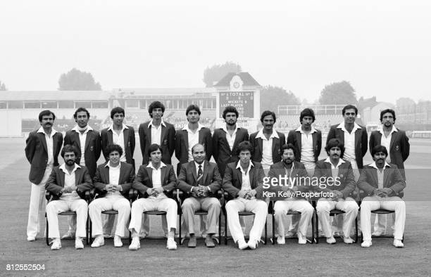 The Pakistan touring squad on the last day of the 1st Test match between England and Pakistan at Edgbaston Birmingham 1st August 1982 Back row left...