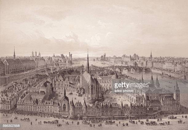 The Palace of Justice and the SainteChapelle in Paris In 1650 Lithography
