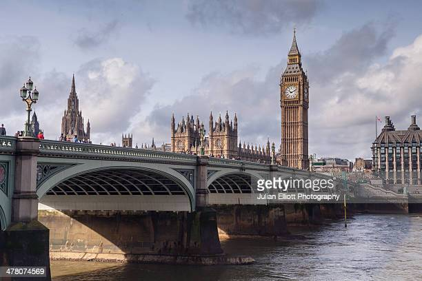 The Palace of Westminster and Westminster Bridge.