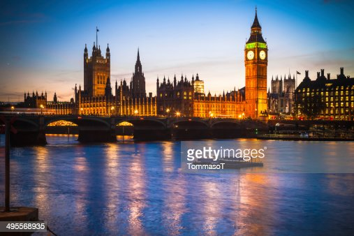 The Palace of Westminster from Thames river at dusk : Stock Photo