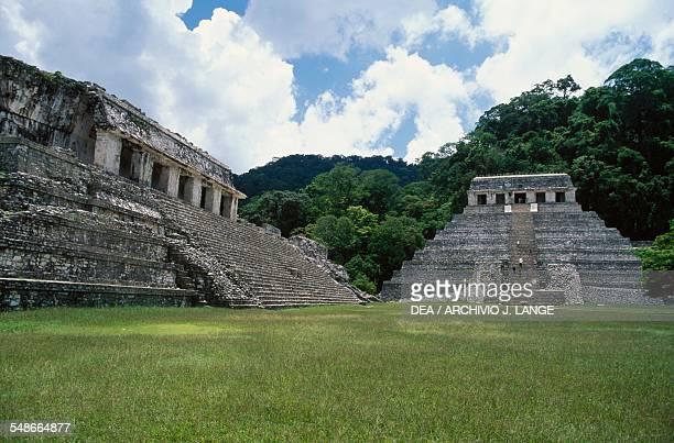 The Palace on the left and the Temple of the Inscriptions Palenque Chiapas Mexico Mayan civilisation 7th8th century