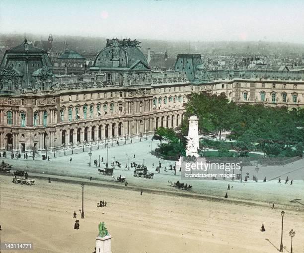 The Palais du Louvre was the former royal palais of Paris Today it houses the Musée du Louvre Handcolored lantern slide around 1910