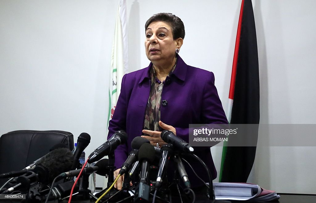 The Palestine Liberation Organisation (PLO) executive committe member, <a gi-track='captionPersonalityLinkClicked' href=/galleries/search?phrase=Hanan+Ashrawi&family=editorial&specificpeople=224697 ng-click='$event.stopPropagation()'>Hanan Ashrawi</a> arrives for a press conference on February 24, 2015 in the West Bank city of Ramallah, a day after a verdict of a New York court was issued finding the Palestinian leadership responsible for six deadly attacks in Jerusalem that killed Americans. In a verdict issued late on February 23, a US jury found the Ramallah-based Palestinian Authority and the PLO responsible for six attacks which killed 33 people and wounded more than 390 others between January 2002 and January 2004.