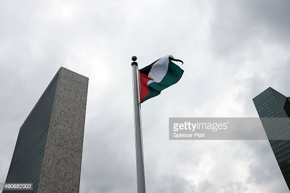 The Palestinian flag flies for the first time at the United Nations headquarters after it was raised in a ceremony on September 30 2015 in New York...
