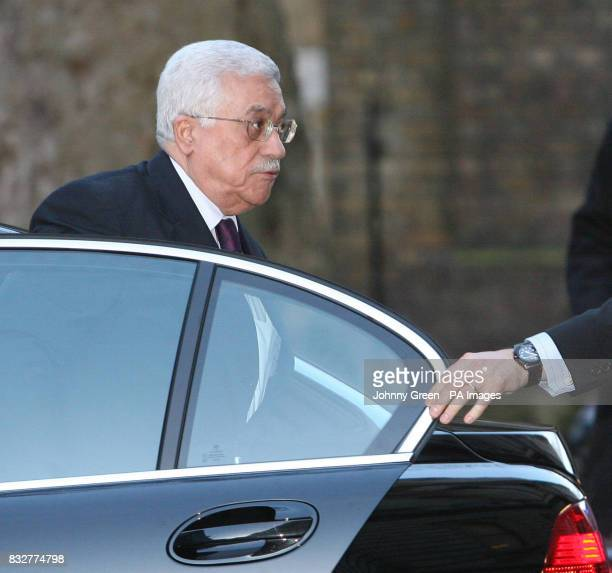 The Palestinian President Mahmoud Abbas arrives at No 10 Downing Street in central London