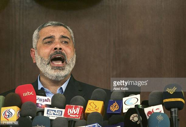 The Palestinian Prime Minister and Hamas leader Ismail Haniyeh gives the weekly Friday prayer speech in Al Mohatah mosque on June 30 2006 in Gaza...