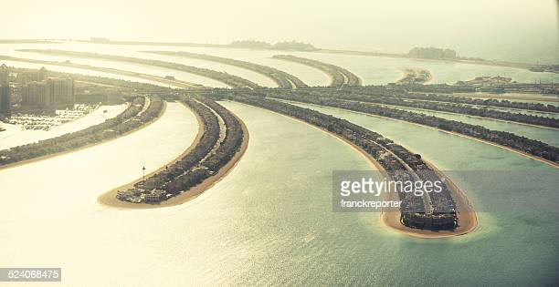 the palm jumeirah in Dubai with skyline
