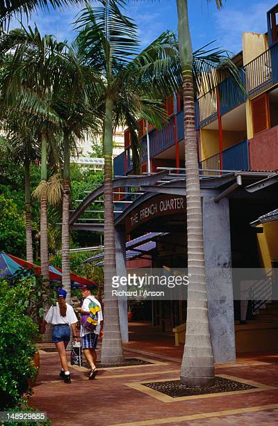 The palm tree lined entrance to the French Quarter Resort on Hastings Street on Queensland's Sunshine Coast.