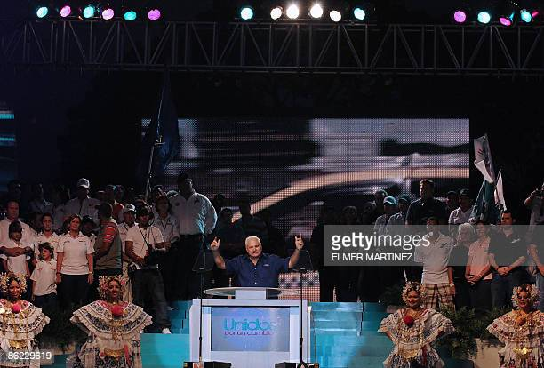 The Panamanian presidential candidate for the Democratic Change party Ricardo Martinelli presents his government program on April 26 2009 in Panama...