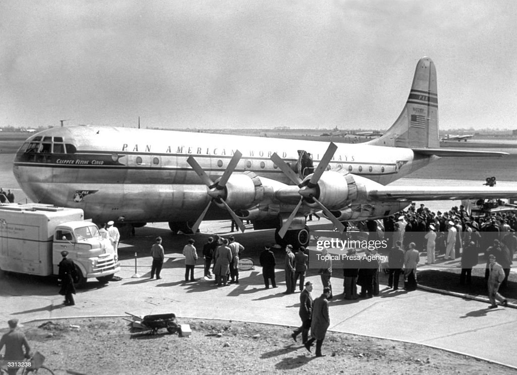 The Pan-American World Airways clipper 'Flying Cloud', the first of a fleet which will fly between New York and London.