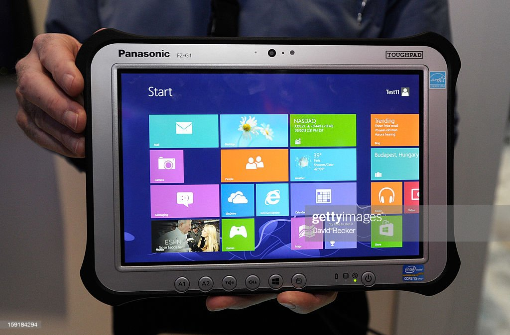 The Panasonic Toughpad FZ-61, that is set to be on the market in March, is displayed at the 2013 International CES at the Las Vegas Convention Center on January 9, 2013 in Las Vegas, Nevada. CES, the world's largest annual consumer technology trade show, runs through January 11 and is expected to feature 3,100 exhibitors showing off their latest products and services to about 150,000 attendees.