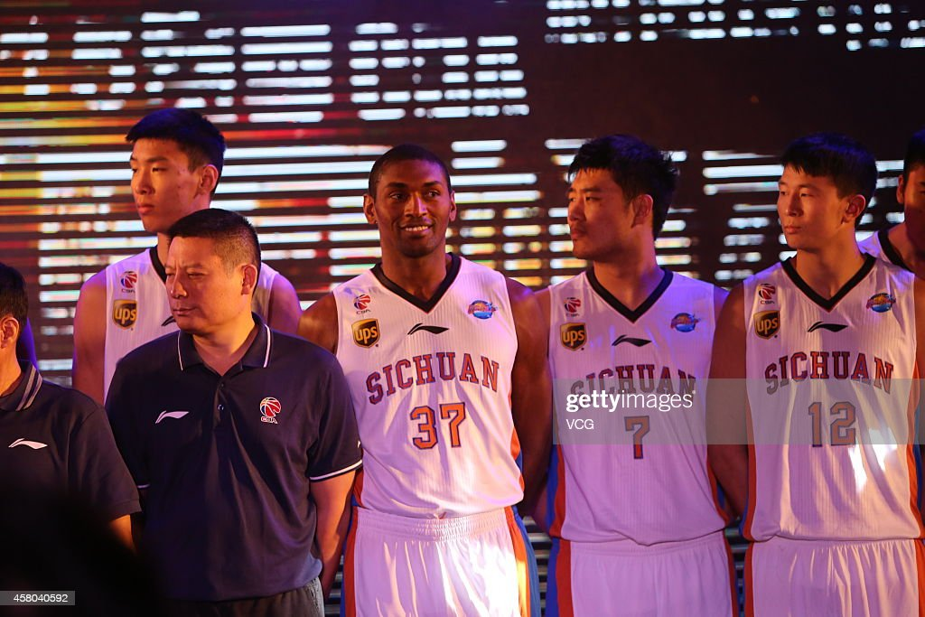 The Pandas Friend also known as Metta World Peace of Sichuan Blue Whales attends a press conference ahead of the Chinese Basketball Association...