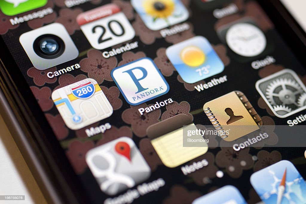 The Pandora Media Inc. application is seen on an Apple Inc. iPhone in Washington, D.C., U.S., on Tuesday, Nov. 20, 2012. Pandora Media Inc. is scheduled to release earnings data on Dec 4. Photographer: Andrew Harrer/Bloomberg via Getty Images