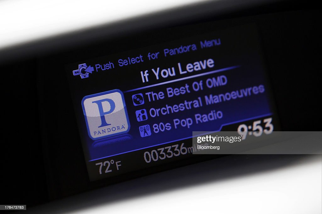 The Pandora Media Inc. integrated entertainment system is demonstrated inside a Honda Civic vehicle at American Honda Motor Co. Inc. headquarters in Torrance, California, U.S., on Tuesday, Aug. 13, 2013. Honda Motor Co. has sold 218,000 Accords, and 191,000 Civics in the first 7 months of 2013, all standard with the integrated Pandora system. Photographer: Patrick Fallon/Bloomberg via Getty Images