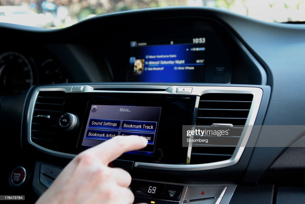 The Pandora Media Inc. integrated entertainment system is demonstrated inside a Honda Accord vehicle at American Honda Motor Co. Inc. headquarters in Torrance, California, U.S., on Tuesday, Aug. 13, 2013. Honda Motor Co. has sold 218,000 Accords, and 191,000 Civics in the first 7 months of 2013, all standard with the integrated Pandora system. Photographer: Patrick Fallon/Bloomberg via Getty Images