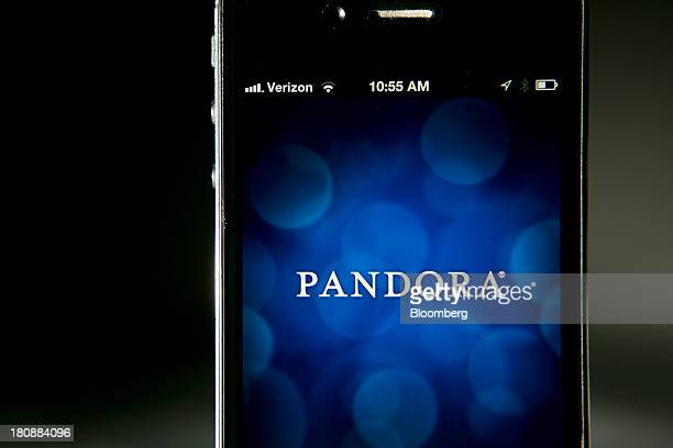 The Pandora Media Inc logo is seen on an Apple Inc iPhone displayed for a photograph in Washington DC US on Tuesday Sept 17 2013 Pandora Media Inc...