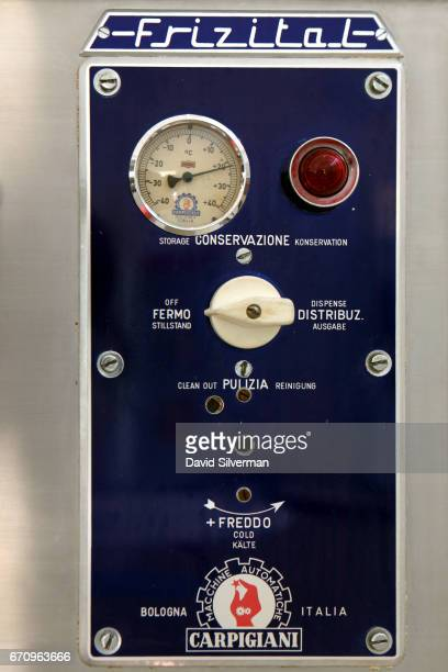 The panel of a 1950's Carpigiani Frizital FS softserve machine on display at the Carpigiani Gelato Museum on March 28 2017 in Bologna Italy Italian...