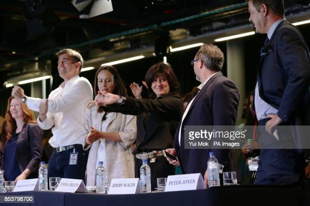 The panel of judges Helen Goulden Matt Brittin Jacquelline Fuller Emma Freud Jimmy Wales and Peter Jones CBE take a break from judging during the...