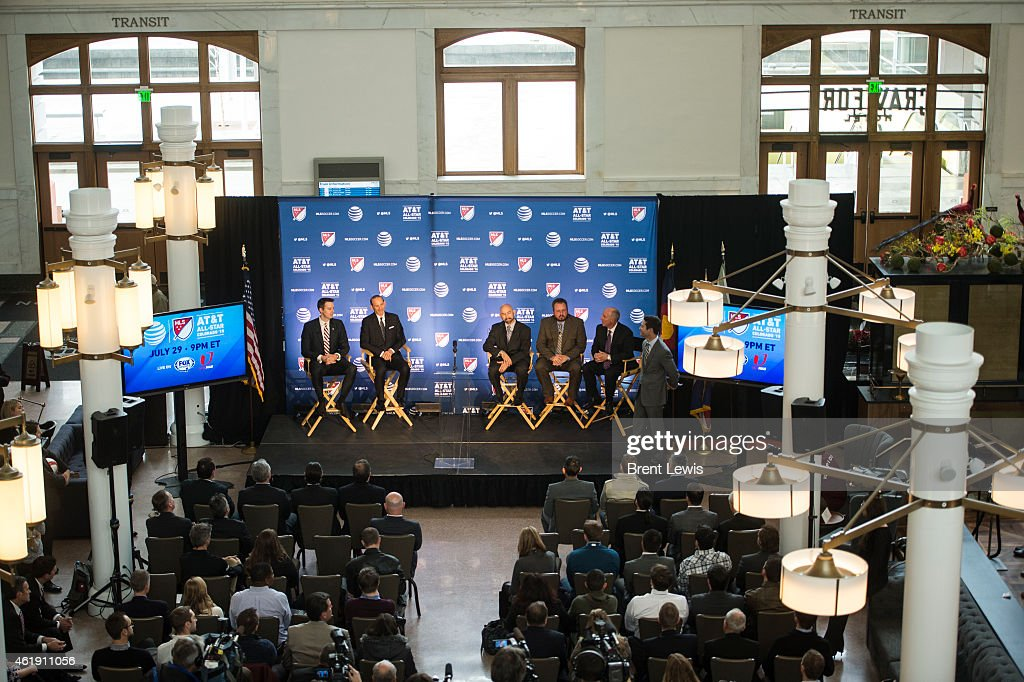 The panel of speakers for the press conference including <a gi-track='captionPersonalityLinkClicked' href=/galleries/search?phrase=Josh+Kroenke&family=editorial&specificpeople=3079825 ng-click='$event.stopPropagation()'>Josh Kroenke</a>, Don Graber, Joseph Garcia, Sean Ford and Richard Scharf discuss the decision to bring the MLS All-Star Game to Dick's Sporting Goods Park on Wednesday, January 21, 2015 at Denver Union Station in Denver, Colorado. MLS commissioner Don Garber held the press conference to announce that the 2015 MLS All-Star game will be held in Commerce City at Dick's Sporting Goods Park.