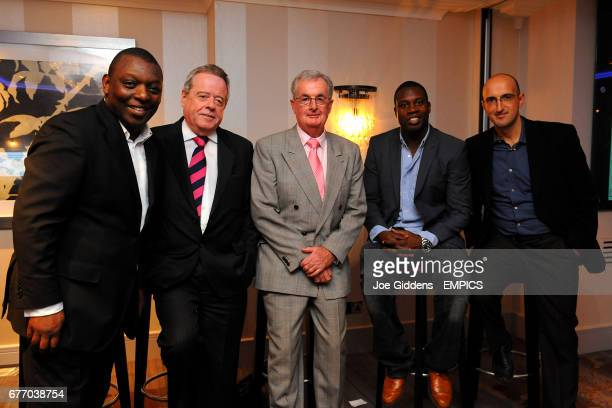 The panel pose for the camera with Garth Crooks Garth Crooks Lord Peter Snape Clive Thomas Martin Offiah and Matthew Syed