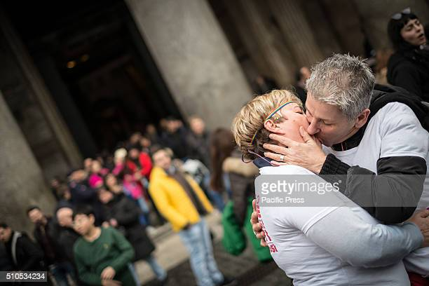 The Pantheon group kiss 'Love is never wrong' The Gay Center and other LGBT associations organized for the day of Valentine's Day a group kiss at the...