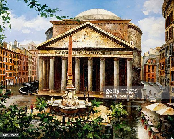 The Pantheon in Rome by Poliri oil on canvas Italy 20th century