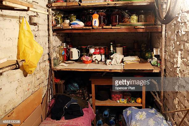 The pantry in a basement bomb shelter is viewed in Ilovaisk which has endured weeks of heavy fighting recently on September 12 2014 in Ilovaisk...