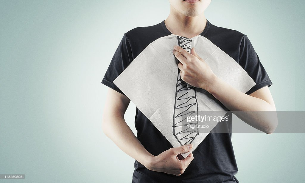 The paper napkin that a necktie was drawn : Stock Photo