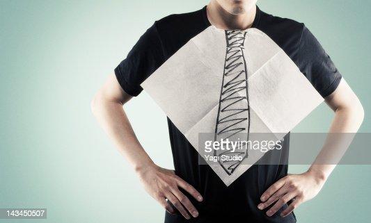 The paper napkin that a necktie was drawn
