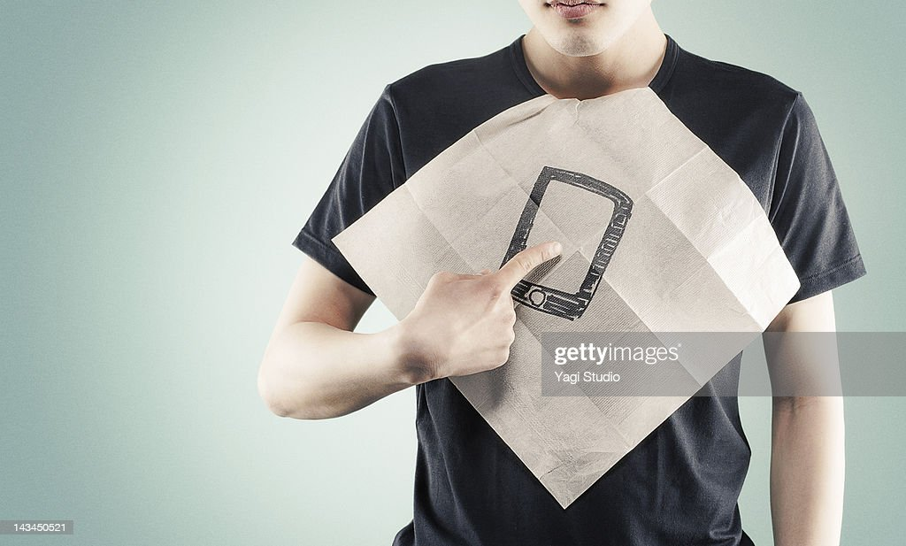 The paper napkin that a smart phone was drawn : Stock Photo