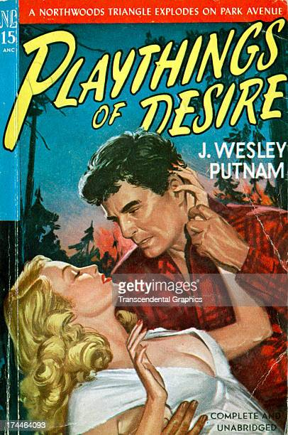 The paperback novel 'Playthings of Desire' employs a romantic scene on the cover printed circa 1950 in New York City