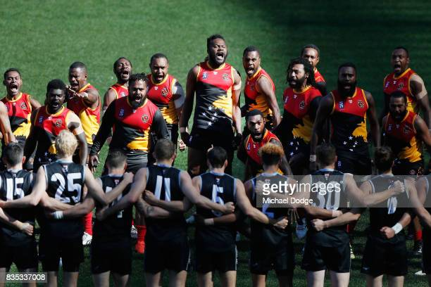 The Papua New Guinea team perform their haka during the 2017 AFL International Cup Grand FInal match between New Zealand and Papua New Guinea at...
