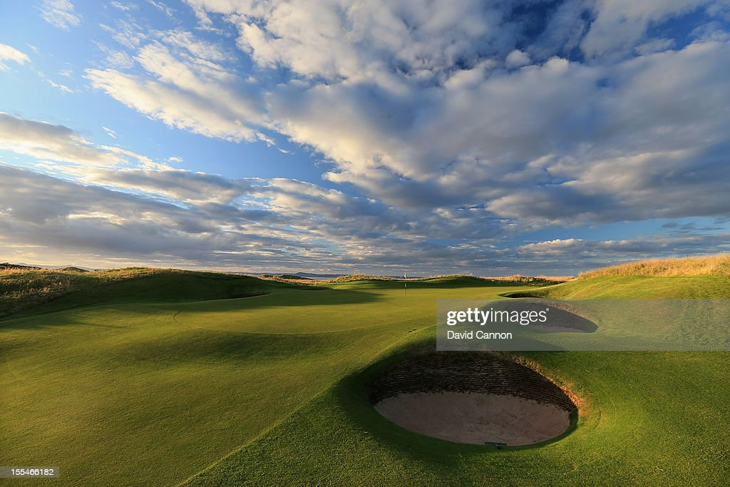 The par 3 13th hole at The Honourable Company of Edinburgh Golfers at Muirfield on August 31 in Gullane Lothian Scotland