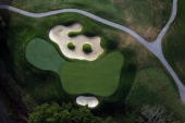 The par 3 3rd green at Valhalla Golf Club venue for the 2008 Ryder Cup Matches on October 4 2007 in Louisville Kentucky