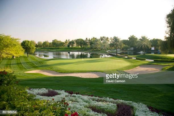 The par 3 7th hole on the Majilis Course at the Emirates Golf Club on January 21 2009 in Dubai United Arab Emirates