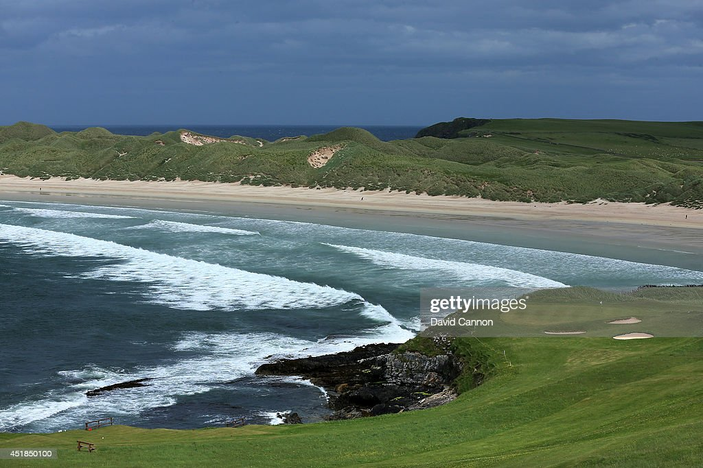 The par 3 finishing hole which plays as the 9th or 18th hole at Durness Golf Club which is a 9 hole course and is the most Northern Golf Club on the...