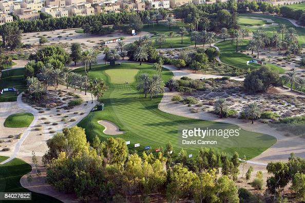 The par 4 17th hole taken from a hot air balloon above the course during the third round of the Dubai Ladies Masters on the Majilis Course at the...