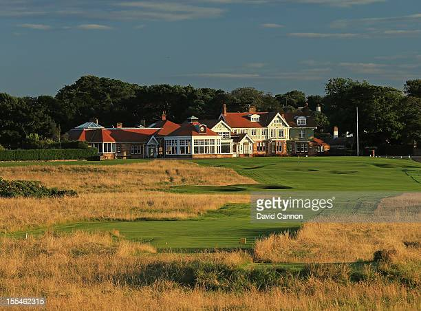 The par 4 18th hole and the clubhouse behind the green at The Honourable Company of Edinburgh Golfers at Muirfield on August 31 in Gullane Lothian...