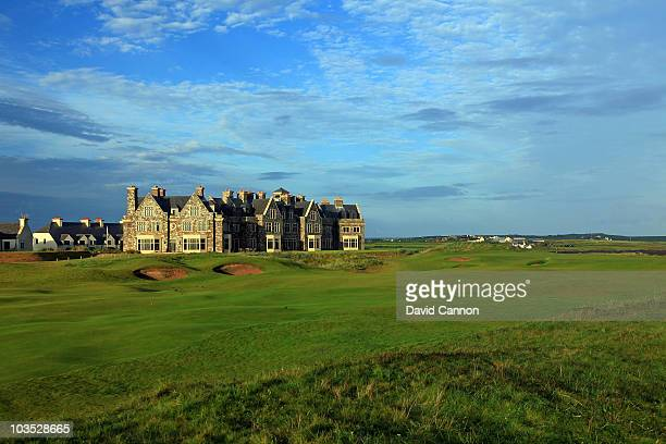 AUGUST 18 AUGUST 18 The par 4 18th hole and the lodge and clubhouse at Doonbeg Golf Club on August 18 2010 in Doonbeg Co Clare Republic of Ireland