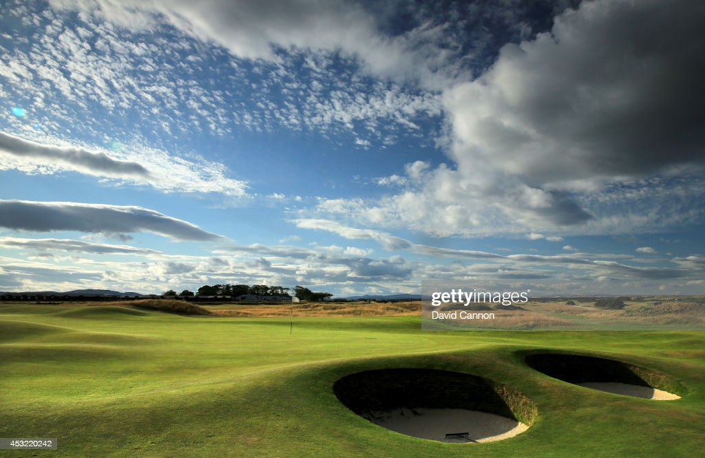 The par 4 2nd hole 'Dyke' on the Old Course at St Andrews venue for The Open Championship in 2015 on July 29 2014 in St Andrews Scotland