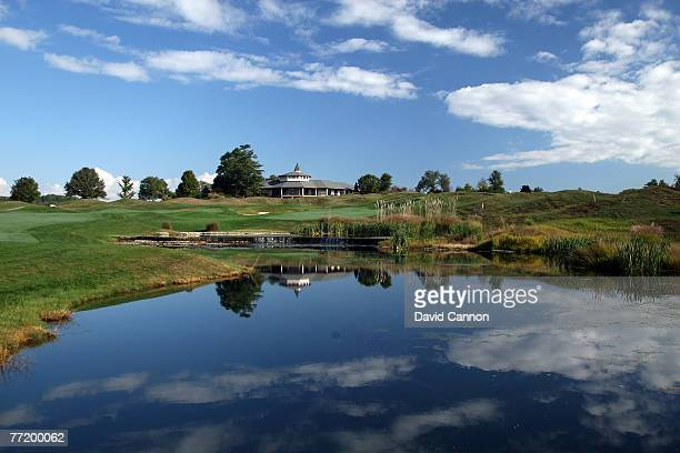 The par 5 18th hole at Valhalla Golf Club venue for the 2008 Ryder Cup Matches on October 4 2007 in Louisville Kentucky