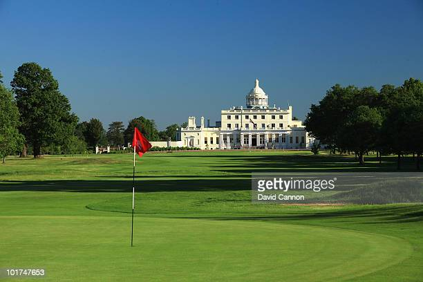 The par 5 1st green looking back down the hole to the clubhouse and hotel at Stoke Park on June 4 in Stoke Poges England
