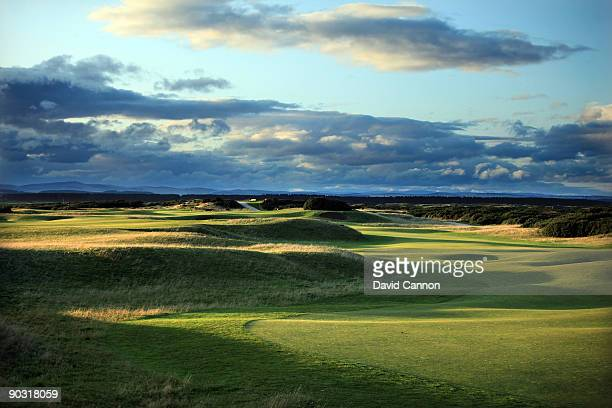 The par 5 5th hole 'Hole o'Cross which shares it's green with the 13th hole on the Old Course at St Andrews on August 29 2009 in St Andrews Scotland