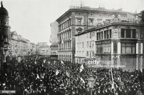 The parade of the plebiscite for the annexation of Rijeka to Italy October 30 World War I from l'Illustrazione Italiana Year XLV No 48 December 1 1918